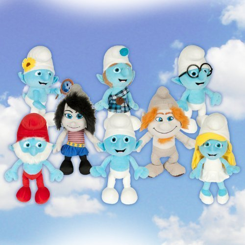 Official The Smurfs 2 Complete 8 Piece Plush Set Doll Toy Vexy Hackus Smurfette Gutsy Clumsy ()