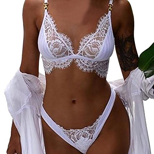 Skate World Cup (Laimeng_world Women's Sexy Floral Lace G-String Panties and Bra Lingerie Set 2 Pieces (White, L))