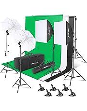 Neewer [Versión Básica] Kit de Iluminación de Fondo de Fotografía para Foto y Video:2.6Mx3M/8.5ftx10ft Background Support System 800W 5500K Umbrellas Softbox Continuous Lighting for Portrait and Video Shoot Photography