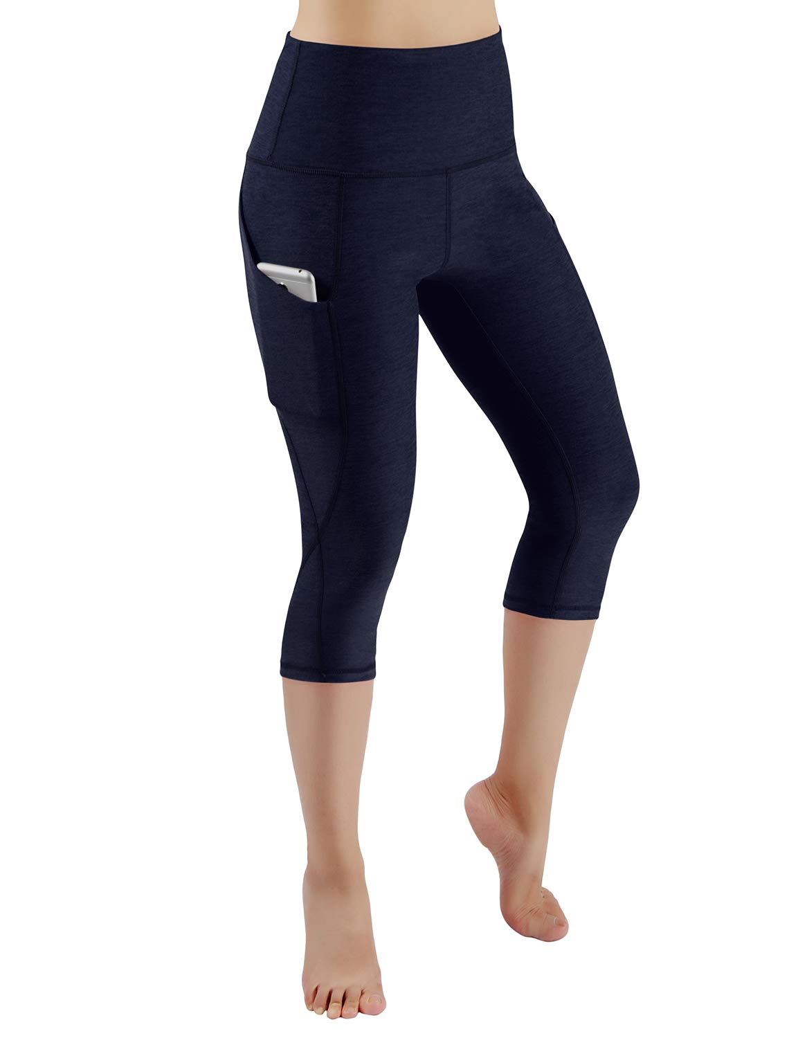 ODODOS High Waist Out Pocket Yoga Capris Pants Tummy Control Workout Running 4 Way Stretch Yoga Leggings,Navy,X-Small by ODODOS (Image #2)