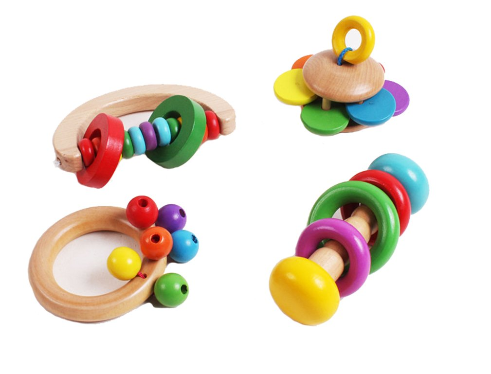 Luoke Baby Kid Wooden Handbell Musical Education Instrument Bell Rattle Toy Gift