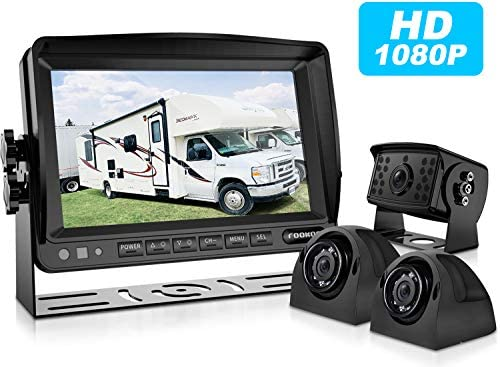 Fookoo HD Backup Camera System HD Backup Camera System Kit,1080P 7 Split Screen Monitor IP69 Waterproof Rear View Camera for Truck Trailer Box RV Trailer Tractor 5th Wheel Bus FHD3