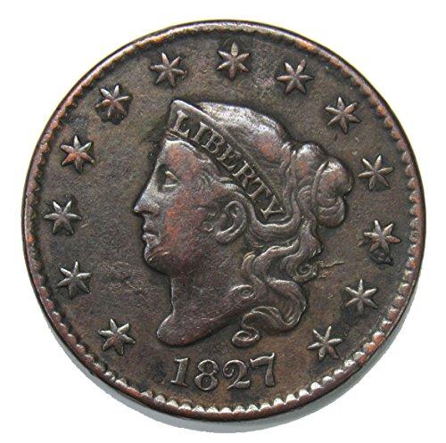 Coronet Head - 1827 Coronet Head Large Cent 1¢ XF