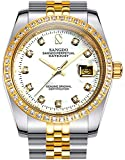 Gosasa Diamonds Men's Gold Stainless Steel Band Automatic Mechanical Watches (A- Men- Two Tone White Dial)
