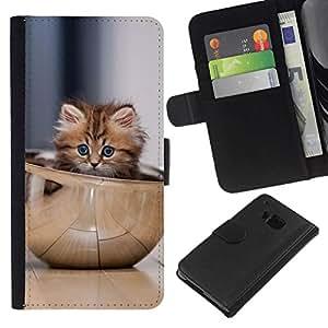 NEECELL GIFT forCITY // Billetera de cuero Caso Cubierta de protección Carcasa / Leather Wallet Case for HTC One M7 // Gatito lindo Tazón