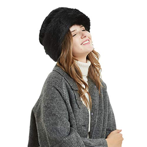 fd76db19 Soul Young Women's Leopard Faux Fur Hat with Fleece and Elastic for Winter(One  Size