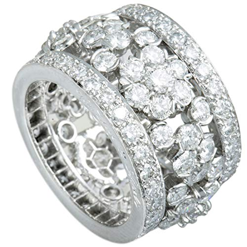 Van Cleef & Arpels Fleurette Platinum Full Diamond Pave Wide Band Ring (First Van Cleef And Arpels Gift Set)