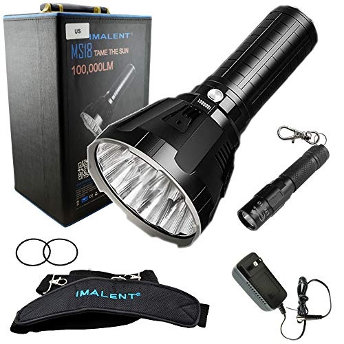 Imalent MS18 Flashlight LED Rechargeable Bright Light with 100,000 Lumens - Case has a Strap, Charger, O-Rings - Bundle includes a Lumintrail LTK-10 Keychain Light