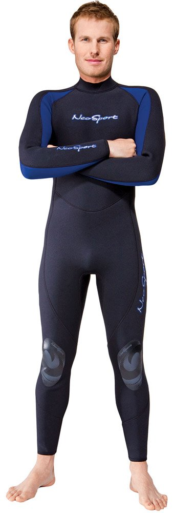 NeoSport Wetsuits Men's Premium Neoprene 7/5 mm Full Suit, Blue Trim, X-Small - Diving, Snorkeling & Wakeboarding by Neo-Sport