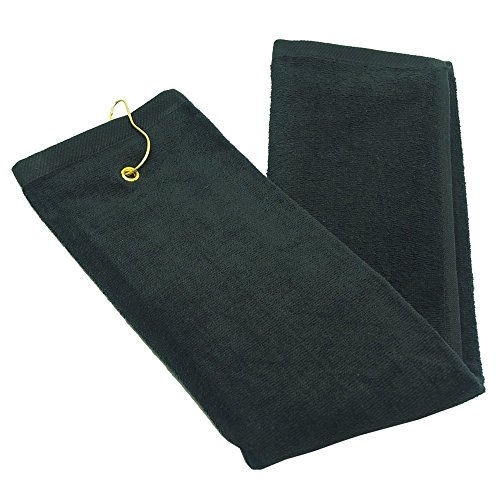 - Simple Quality SET OF TWO - 100% Cotton Terry Velour Golf Sports Towel With Swivel Hang Clip (Black)