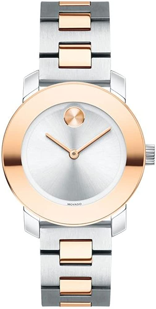 Movado Bold, Stainless Steel Case, Silver Dial, Two Tone Stainless Steel Bracelet, Women, 3600464