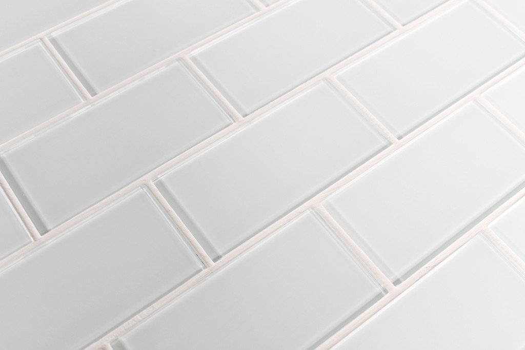 Sample Color Swatch of Snow White 3x6 Glass Subway Tile for