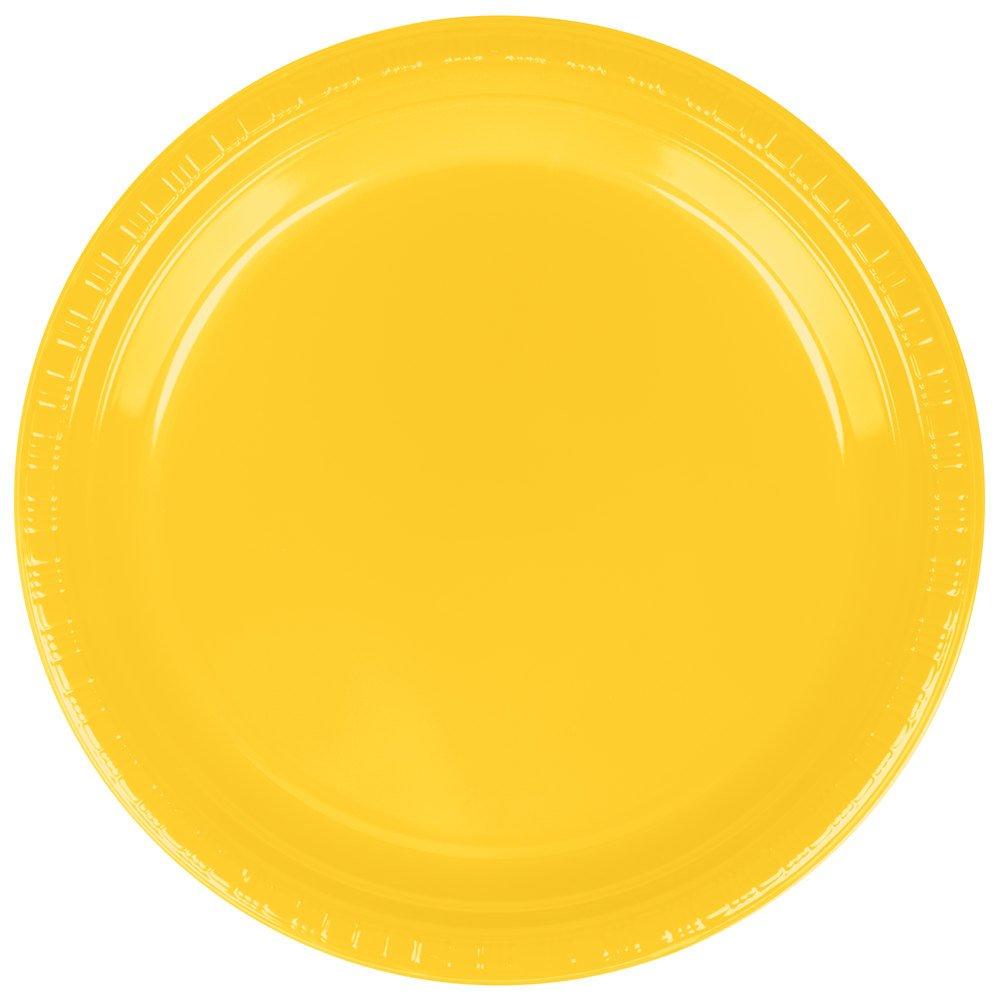 Creative Converting 28102121B 9'' School Bus Yellow Plastic Plate - 50/Pack