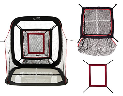 Spornia Baseball/Softball Pitching & Hitting Net (5' x 5') with Strike-Zone Sock Net Target, and Pro Pitching Target Box by Spornia
