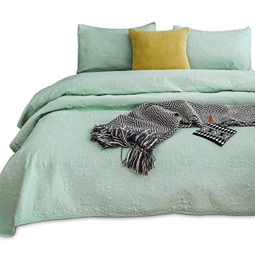 KASENTEX Coverlet Quilt Set-Pre Washed-Luxury Microfiber Soft Warm Bedding-Solid Colors Bedspread-Contemporary Floral Design (Deep Celadon Green, Twin + 1 Sham)