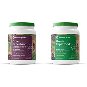 Amazing Grass Green Superfood Antioxidant: Organic Plant Based Antioxidant and Wheat Grass Powder for Full Body Recovery, 100 Servings & Green Superfood: Super Greens Powder, 100 Servings