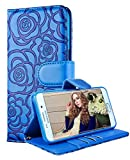Galaxy S6 Edge Plus Wallet Case, FLYEE Premium Vintage Emboss Flower Flip Wallet Shell PU Leather Magnetic Cover Skin with Detachable Wrist Strap Case for Samsung Galaxy S6 Edge Plus Blue