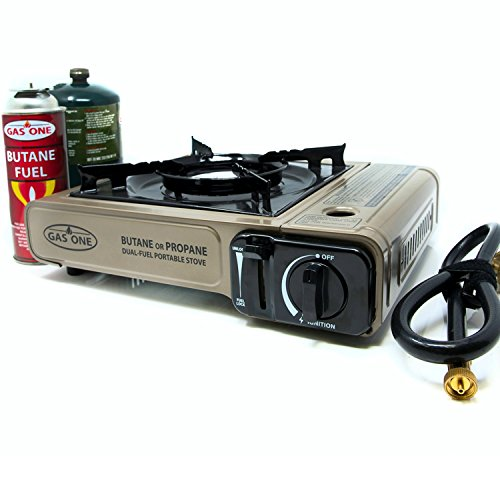 Dual Fuel Single (GAS ONE Propane or Butane Stove GS-3400P Dual Fuel Portable Camping and Backpacking Gas Stove Burner with Carrying Case Great for Emergency Preparedness Kit (GOLD))