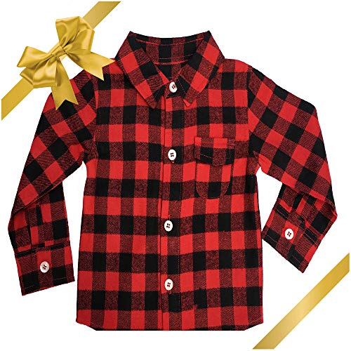 Baby Flannel Shirt: Infant and Toddler Buffalo Plaid for Girl or Boy 12M