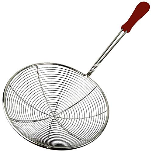 Spiral Skimmer - IndiaBigShop Stainless Steel Skimmer Strainer for Kitchen Frying Food, Pasta, Spaghetti, Noodle Wire Skimmer with Spiral Mesh, Professional Grade Handle