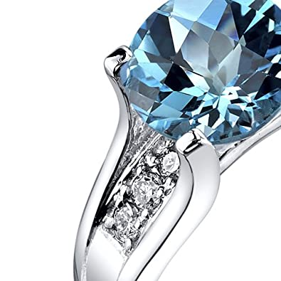 Peora 14K White Gold Swiss Blue Topaz Diamond Cathedral Ring 2.25 Carat