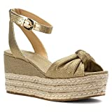 MICHAEL Michael Kors Womens Maxwell Mid Wedge Open Toe Casual Platform Sandals, Gold, Size 8.5