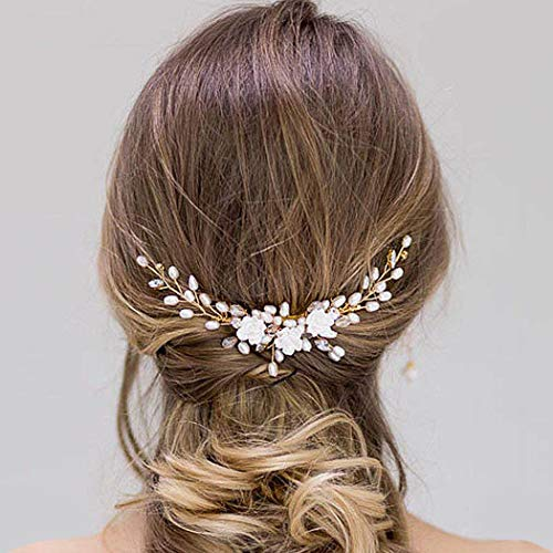 Barogirl Bridal Flower Hair Comb White Rhinestones Wedding Hair Clips Combs for Brides and Bridesmaids (Gold) (Bridal Hair Accessories For Half Up Half Down)