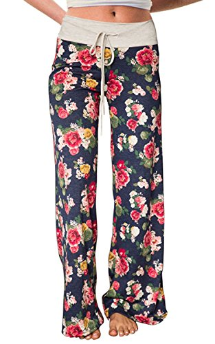 Women's Summer Pjs Pant Comfy Stretch Drawstring Floral High Waist Wide Leg Lounge Palazzo Pajamas Pants (Tag S (US 4), Blue)