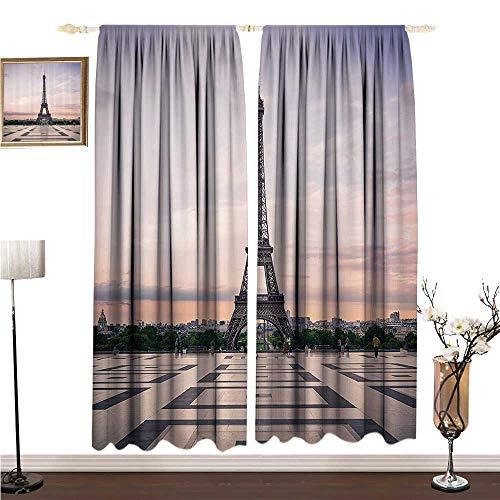 Anshesix Half Blackout Curtains: Paris City Decor Collection Trocadero and Eiffel Tower at Sunshine Paris Skyline Historic Landscape View W96 xL108 Decorative Curtains for Living Room