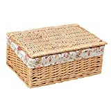 Storage Basket Laundry Basket Woven Hampers Dirty Clothes Storage Rectangular Wood Color 40×29×17cm Breathable Durable (Color : Style 1)