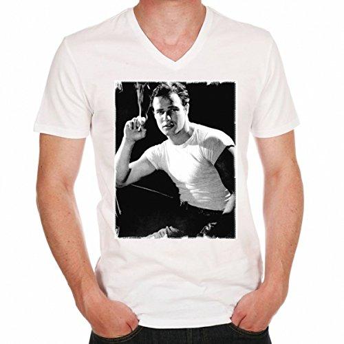 Marlon Brando White Shirt: Men's T-shirt picture celebrity - White, S