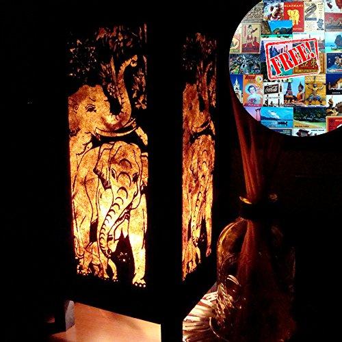 Elephant Table Lamp Lighting Shades Floor Desk Outdoor Touch Room Bedroom Modern Vintage Handmade Asian Oriental Wood LED Bedside Gift Art Home Garden…