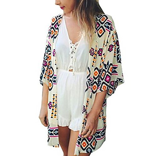 Bestyou Women's Beachwear Cover-up Tunic Geometry Print Dress Kimono Cardigan (Geometry Print),One Size Fits Most