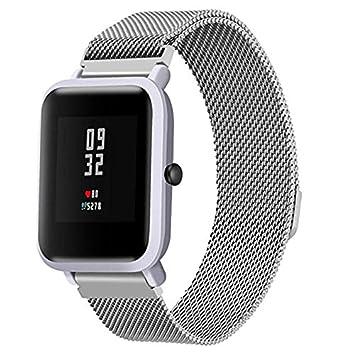 Kingulee para Xiaomi Huami Amazfit Bip Band, Milanese magnético de Acero Inoxidable Pulsera Correa para Reloj para Xiaomi Amazfit Bip Youth Watch, ...