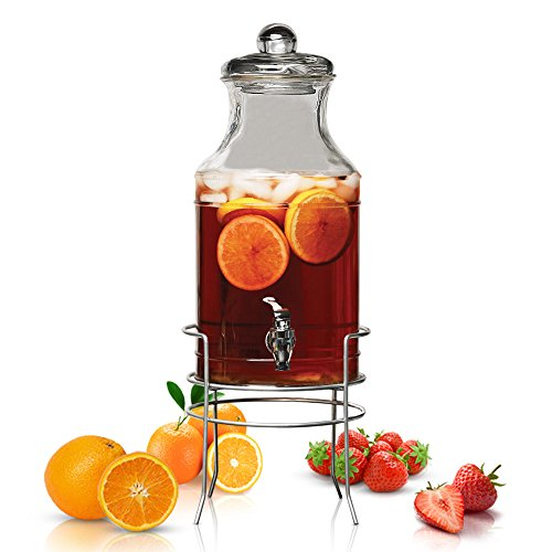 Glass Beverage Dispenser with Spigot and Stand - 1.5 Gallon Mason Jars with Lid for Party Drinks, Water, Iced Tea, Buffet Station - Ideal on Any Events for Both Indoor or Outdoor Use