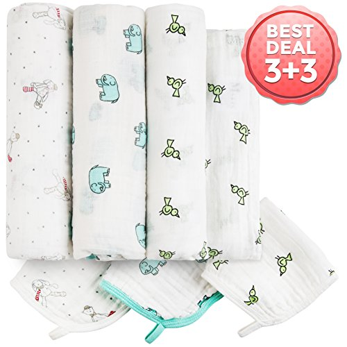 Baby Muslin Swaddle Blankets Washcloths product image