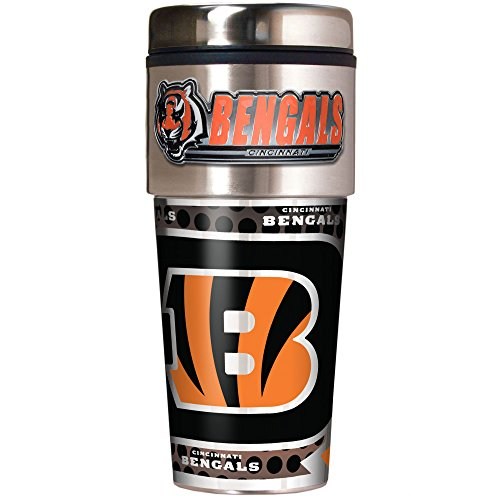 NFL Cincinnati Bengals Metallic Travel Tumbler, Stainless Steel and Black Vinyl, 16-Ounce