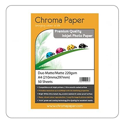 Papel fotográfico de Chroma, de tamaño A4, de doble cara, mate, para impresoras de inyección de tinta, de 220 g/m², 50 hojas