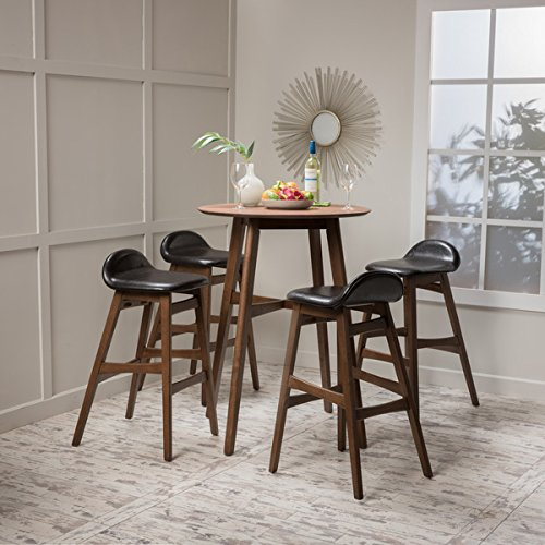 Moria 5-piece Wood Bar Height Dining Set with Faux Leather Cushions by Christopher Knight Home