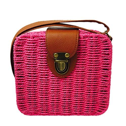 bag Rosa hombro para mujer HT Bolso al B straw woven PxTTn6EZ