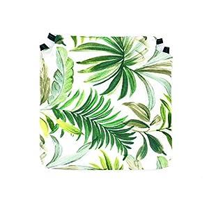 Tienda Eurasia – Pack de 4 Cojines para Sillas, Estampado Tropical Green, con 2 Correas de Sujeción. Apto para Interior – Exterior. Medidas 40x40cm