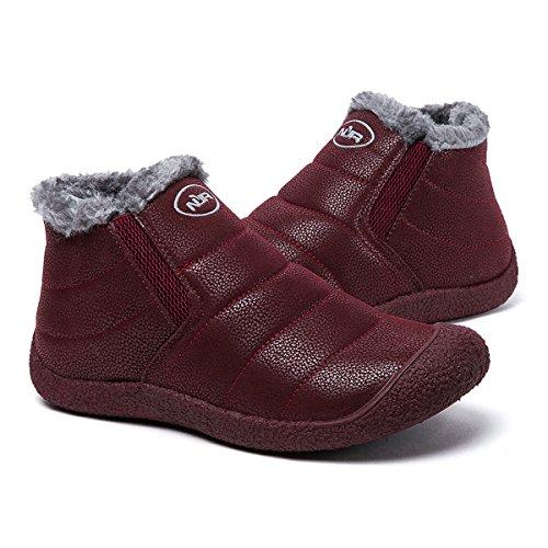 Femme Fourré Hiver tableau Boots Basses Homme Noir Vineux A De Bleu Marron À Chaussons Enfiler Rouge En Bottes Bottines Poiture Voir Chaussures Cuir Gracosy Neige Rq80Intw