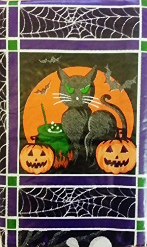 """Halloween Jack-O-Lanterns, Black Cats, Ghosts and Owls Vinyl Flannel Back Tablecloth (52"""" x 102"""" Oblong)"""