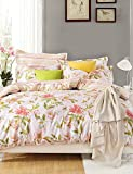 ZQ Personality style Love Flowers, High-end Full Cotton Reactive Printing Pattern Bedding Set 4PC, Queen/ Full Size Quality Goods , full