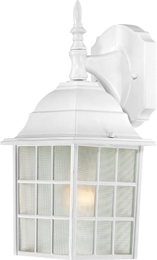 Nuvo Lighting 60/4904 Adams One Light Wall Lantern/Arm Down 100 Watt A19 Max. Frosted Glass White Outdoor Fixture