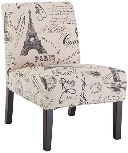 Roundhill Furniture Goodale Script Linen Print Fabric Armless Contemporary Oversize Accent Chair Review