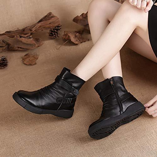 Fuxitoggo Schwarze Damen Stiefel Schnalle Reißverschluss Knöchel Martin Schuhe Schuhe Schuhe (Farbe   Schwarz, Größe   EU 39) 6c778f