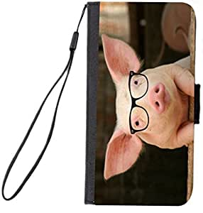 Rikki KnightTM Percy the Pigster - Hipster - Pig in Sty Design Galaxy S5 Premium PU Leather Wallet Type Flip Case with Magnetic Flap for Samsung Galaxy S5 i9500