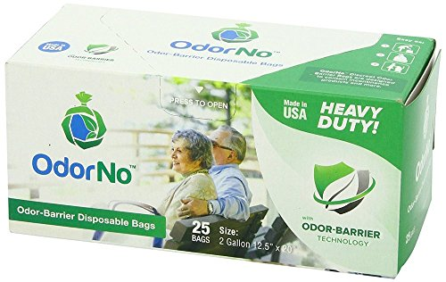 OdorNo ADU-2-4025 Odor-Barrier Disposable Bags 2 Gallon - 25 Count Box (Case of 250 Bags); Biodegradable, eco-friendly, and compostable bags made of FDA-approved plastics by OdorNo