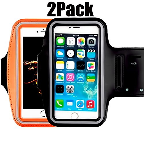 CaseHQ [2pack] Water Resistant running Sports Armband reflective with Key Holder for workout for iPhone X 8 7 Plus, 6 Plus, 6S Plus (5.5-Inch),samsuang Galaxy S6/S5, Note 4 (Touch Screen Fan Controller)